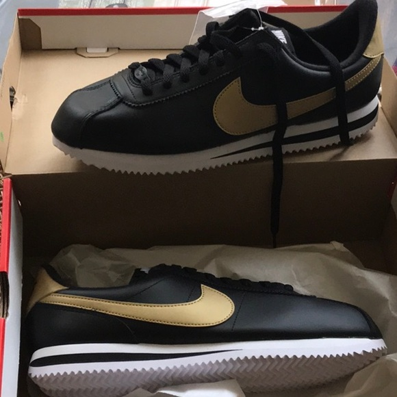 hacha grabadora Ese  Nike Shoes | Nike Cortez Size Black Gold New Leather Shoes | Poshmark